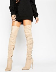 Asos Karianne Multi Strap Over The Knee Boots Nude Beige