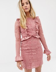 Glamorous Lace Dress With Satin Frill Detail Pink