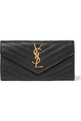 Saint Laurent Quilted Textured Leather Wallet Black