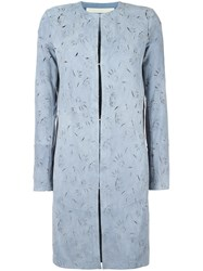 Drome Cut Off Pattern Collarless Coat Blue