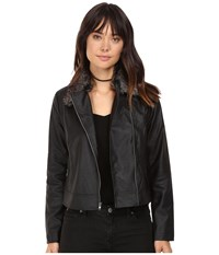 Bb Dakota Leonce Textured Faux Leather Jacket W Removable Faux Fur Collar Black Women's Coat