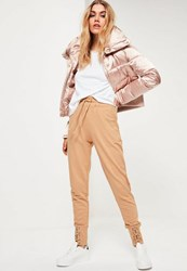 Missguided Nude Lace Up Front Cuffed Joggers