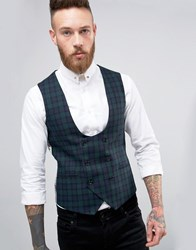 Noose And Monkey Super Skinny Waistcoat In Tartan Green Black