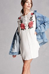 Forever 21 Floral Applique Tunic White Red