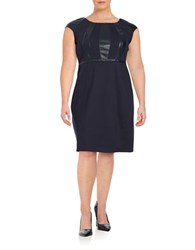 Modamix Plus Faux Leather Trim Sheath Dress Navy