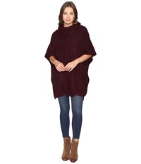 Christin Michaels Kimber Turtleneck Poncho Burgundy Women's Coat
