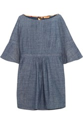 Burberry Pintucked Cotton Chambray Mini Dress Mid Denim