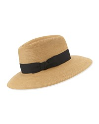 Eric Javits Phoenix Woven Boater Hat Natural Black
