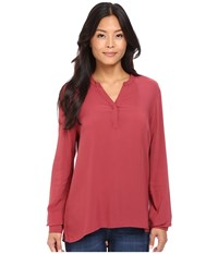 Mavi Jeans Long Sleeve Crisscross Blouse Burnt Russet Women's Blouse Burgundy