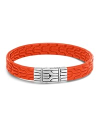 John Hardy Sterling Silver Classic Chain Bracelet With Orange Leather Orange Silver