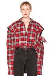 Vetements Flannel Shirt In Red Checkered And Plaid Red Checkered And Plaid