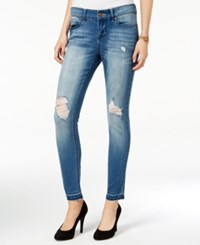 Indigo Rein Juniors' Ripped Frayed Hem Skinny Jeans Headley Wash