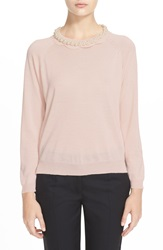Simone Rocha Scallop Neck Sweater With Jeweled Necklace Pk Pearl