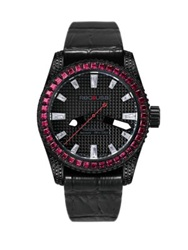 Red8usa Scandal Automatic Crystal Black Pvd And Alligator Embossed Rubber Strap Watch Red Black Red