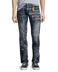 Robin's Jeans Marbled Zipper Moto Skinny Dirty Blue