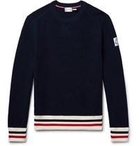 Moncler Gamme Bleu Stripe Trimmed Waffle Knit Cotton Sweater Midnight Blue