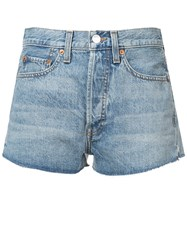 Re Done Rinse Effect Shorts Blue