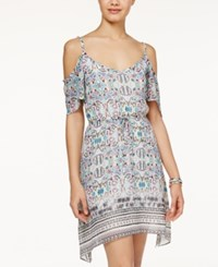 American Rag Printed Cold Shoulder Asymmetrical Hem Dress Only At Macy's White Combo