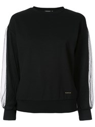 Loveless Mesh Sleeve Sweatshirt Black