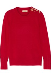 Burberry Button Detailed Cashmere Sweater Claret