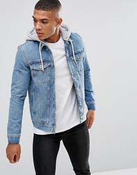 Kings Will Dream Denim Jacket In Midwash Blue With Hood