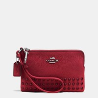 Coach Corner Zip Wristlet In Lacquer Rivets Pebble Leather Silver Red Currant