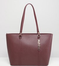 Valentino By Mario Valentino Crosshatch Burgundy Tote Bag Red