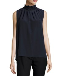 Joseph Gill Ruffled Sleeveless Top Navy