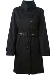 Armani Jeans Belted Trench Coat Black