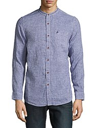 Report Collection Striped Linen Shirt Navy