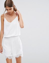 Vero Moda Playsuit With Lace Trim In White Bright White