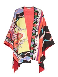 Etro Floral And Geometric Print Cotton Poncho