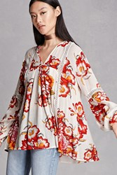 Forever 21 Rd And Koko Floral Print Tunic White Multi