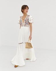Cleobella Daphne Embroidered Midi Dress White