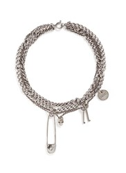 Alexander Mcqueen Assorted Charm Curb Chain Necklace Metallic