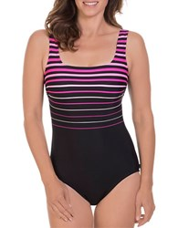 Reebok Winning Streak One Piece Squareneck Swimsuit Pink