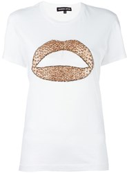 Markus Lupfer 'Flower Sequin Lip Kate' T Shirt White