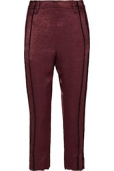 Ann Demeulemeester Cropped Striped Hammered Satin Pants Burgundy