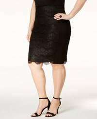 Standards And Practices Trendy Plus Size Lace Pencil Skirt Black