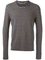 Roberto Collina Long Sleeve Striped T Shirt Blue