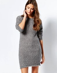 Ichi Sweater Dress With Back Lace Insert Steel Gray