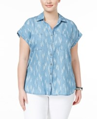 Style And Co Plus Size Short Sleeve Denim Shirt Only At Macy's Ikat Craze