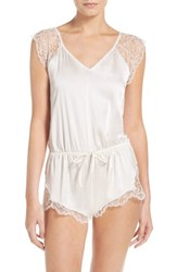 Else Women's Yasmine Silk And Lace Lounge Romper