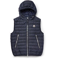 Moncler Dover Hooded Denim Down Gilet Dark Denim