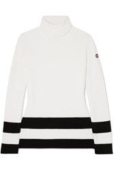 Fusalp Striped Knitted Turtleneck Sweater White