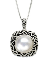 Macy's Pearl Necklace Sterling Silver Cultured Freshwater Pearl 11 1 2Mm Pendant Black