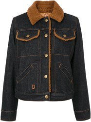 Marc Jacobs Denim Shearling Jacket Cotton Acrylic Polyester Rayon Blue