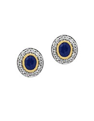 Effy 925 Blue Sapphire White Sapphire 18K Yellow Gold And Sterling Silver Stud Earrings