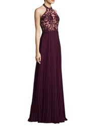 Basix Black Label Pleated Floral Gown Wine