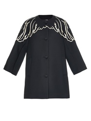 Red Valentino Embroidered Cocoon Shaped Wool Coat